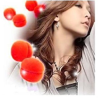 Hair Sponge curler balls 6 stk rød - skumcurler