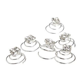 Hårspiraler med krystaldiamanter - 6 stk