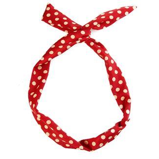 N/A – Flexi hårbånd med ståltråd - rød med hvide polkaprikker på fashiongirl
