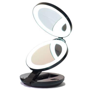 N/A Kompakt dobbelt rejsespejl med led (10x forstørrelse) - sort fra fashiongirl