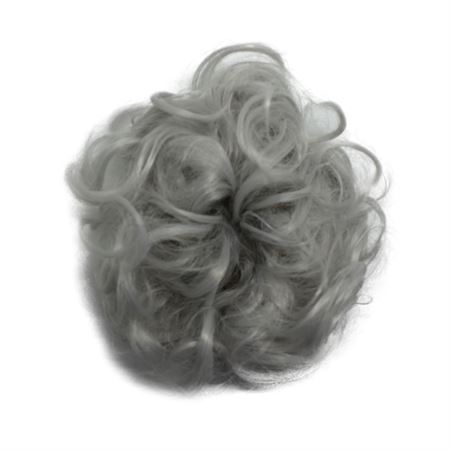 Image of   Messy Bun Hårelastik med krøllet kunstigt hår - Lys grå