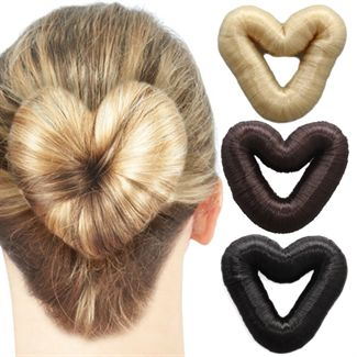 Image of   5 cm hjerte hår donut m/ kunstigt hår fl. farver