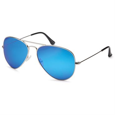 Lux® Aviator Pilot Solbriller - blå glas med sølvstel