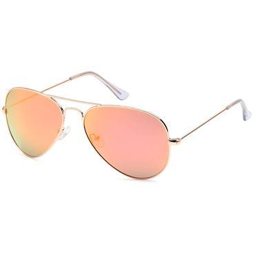 Lux® aviator pilot solbriller - pink med guldstel fra N/A på fashiongirl