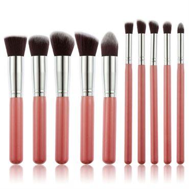 N/A – Pro makeupbørster rose / silver - 10 stk fra fashiongirl