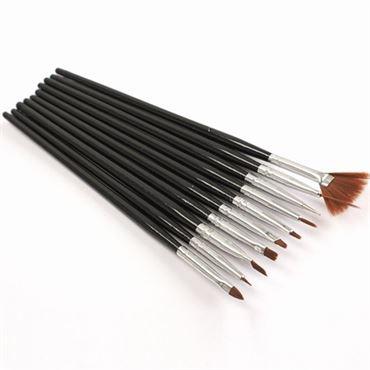 Nail art pensler - 10 stk fra N/A fra fashiongirl