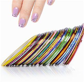 N/A – Negletape til flotte nail art striber - 10 taperuller fra fashiongirl