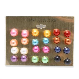Perle øreringe pakke med 12 par i forskellige farver