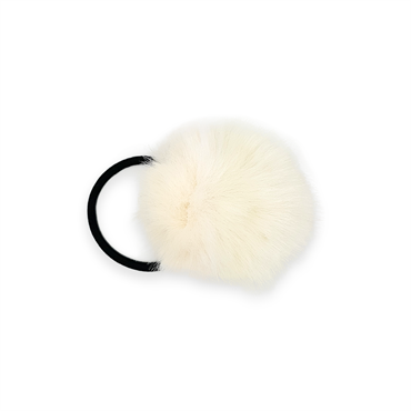 N/A Pom pom pels med hårelastik - naturhvid fra fashiongirl