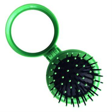 Kompakt makeup spejl med børste - grøn thumbnail