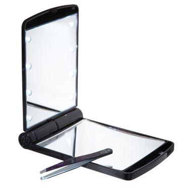 Uniq® lommespejl / makeup spejl med led lys fra N/A på fashiongirl