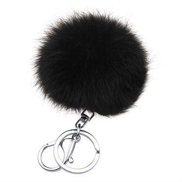 Pels Nøglering Pom Pom Fur Keyring - Sort