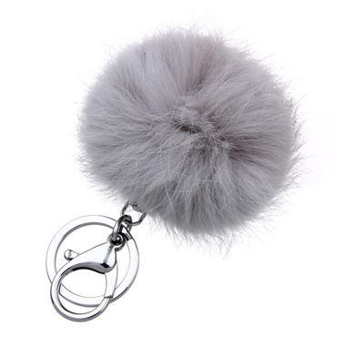 Pels Nøglering Pom Pom Fur Keyring - Grå