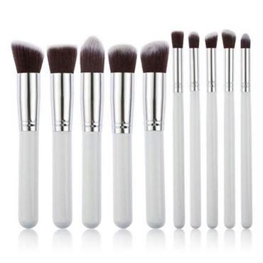 Pro makeupbørster white / silver - 10 stk fra N/A på fashiongirl