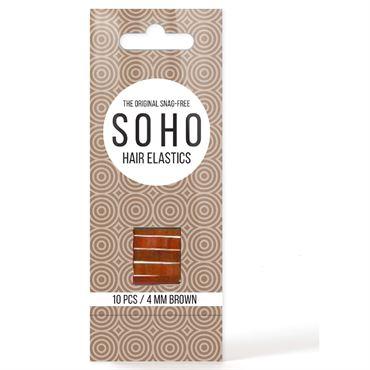 Soho snag-free hårelastikker, brun - 10 stk fra N/A på fashiongirl