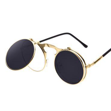 Steampunk solbriller i guld med flip funktion fra N/A på fashiongirl