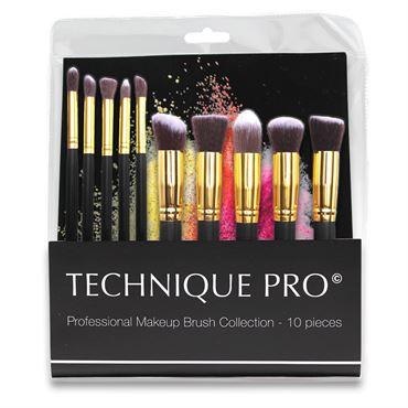 N/A – Technique pro® makeupbørster, gold edition - 10 stk fra fashiongirl