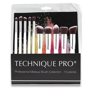 N/A – Technique pro® makeupbørster, silver edition - 10 stk fra fashiongirl