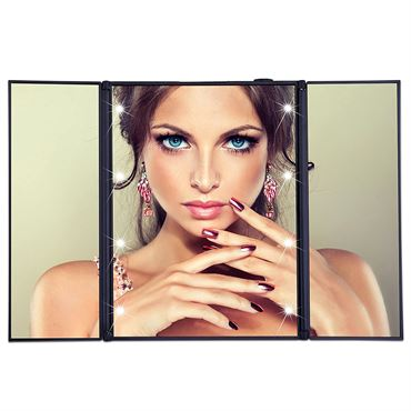 UNIQ® Vanity Tri-fold Makeup Spejl med LED lys, sort